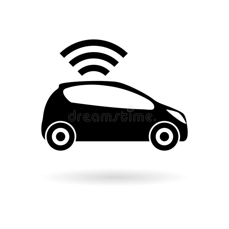 La voiture reliée Icône futée de voiture avec le symbole sans fil de connectivité illustration stock