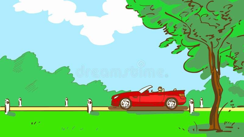 La voiture rouge à couvercle serti de bande dessinée monte le long d'une route rurale avec l'arbre et l'herbe verte Paysage d'été illustration de vecteur