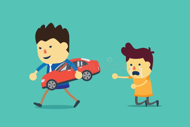 La voiture rouge est saisie par l'agent de prêts illustration stock