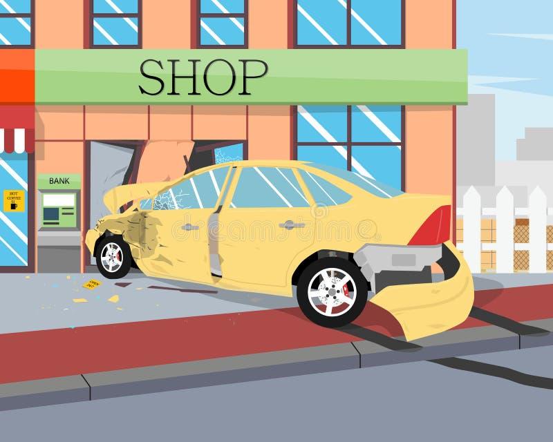 La voiture s'est écrasée dans la boutique illustration stock
