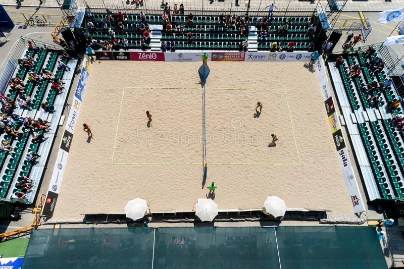 La volée hellénique de plage de championnat maîtrise 2018 photo libre de droits