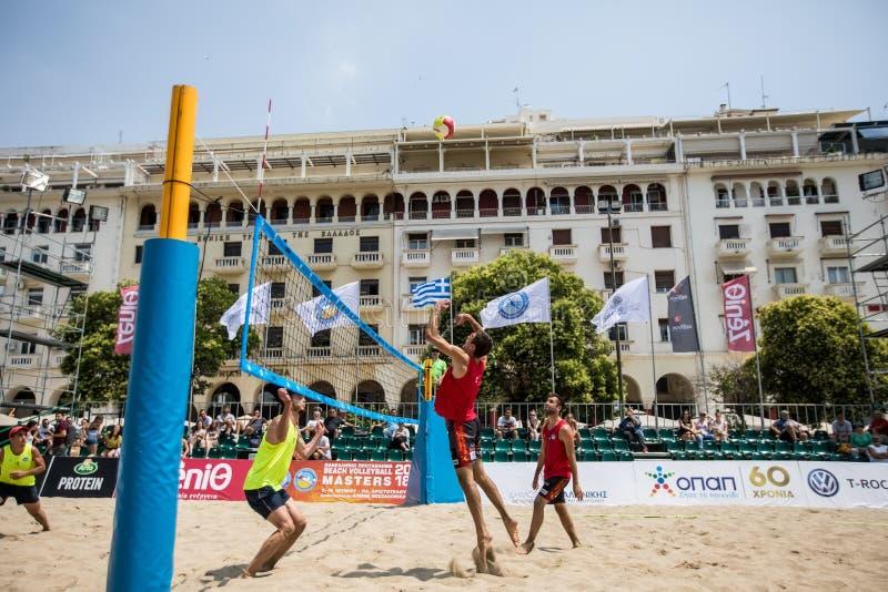 La volée hellénique de plage de championnat maîtrise 2018 photographie stock libre de droits