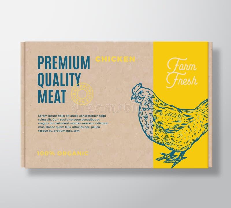 La volaille de la meilleure qualité de qualité dirigent la conception de label d'emballage de viande sur un récipient de boîte en illustration libre de droits