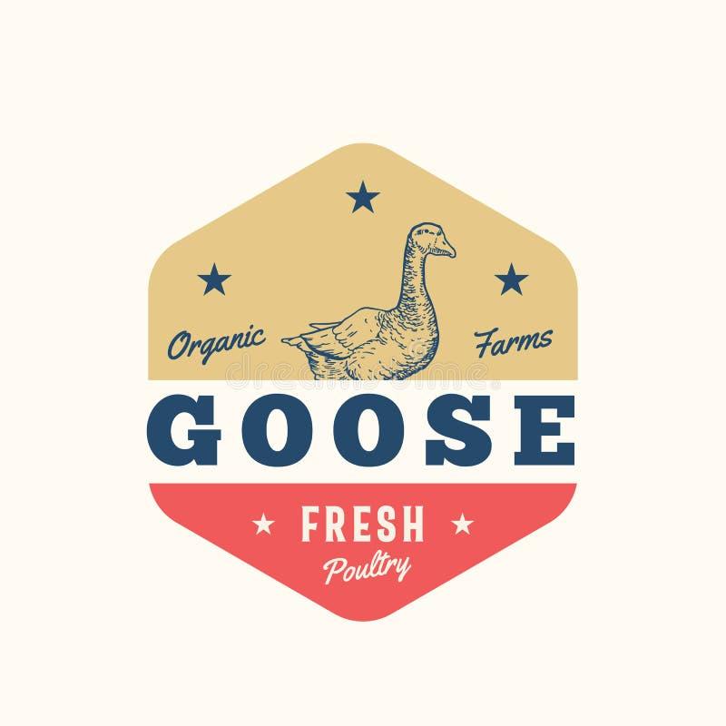 La volaille fraîche de fermes organiques d'oie soustraient le signe, le symbole ou le Logo Template de vecteur Oie tirée par la m illustration de vecteur