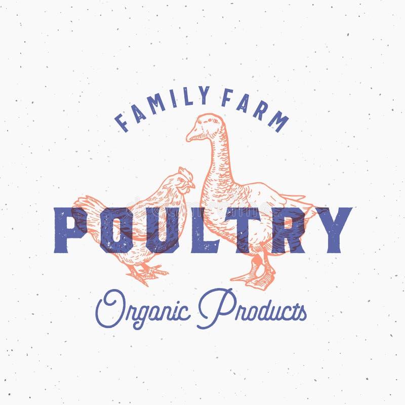 La volaille fraîche organique de ferme de famille soustraient le signe, le symbole ou le Logo Template de vecteur Poulet et oie t illustration libre de droits