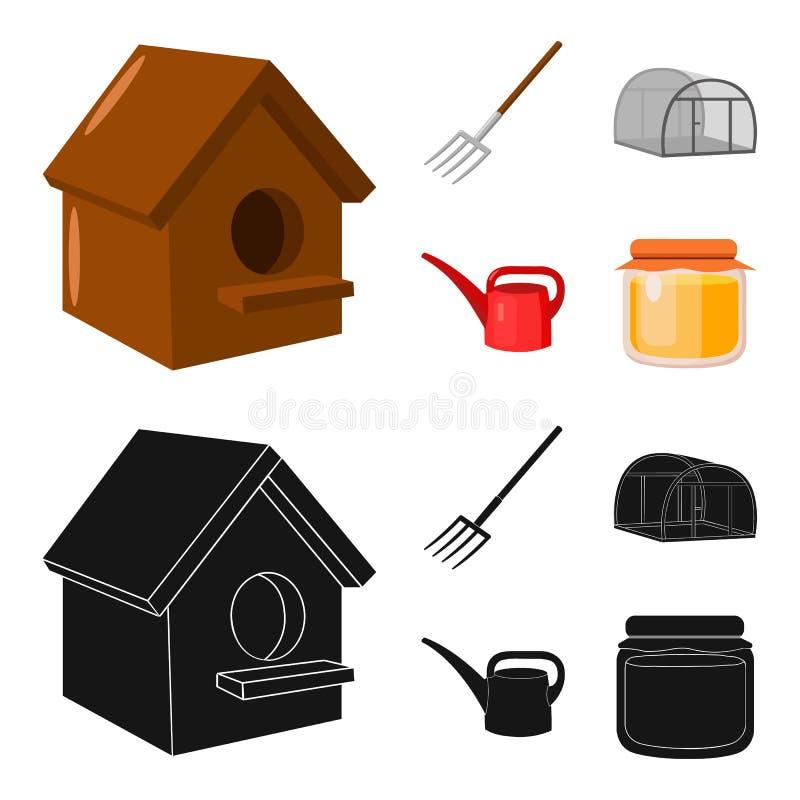 La volaille logent, pitchfork, serre chaude, boîte d'arrosage Icônes réglées de collection de ferme dans la bande dessinée, actio illustration libre de droits