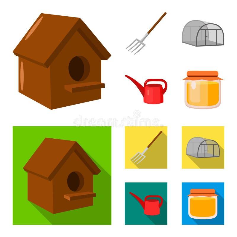 La volaille logent, pitchfork, serre chaude, boîte d'arrosage Icônes réglées de collection de ferme dans la bande dessinée, actio illustration de vecteur