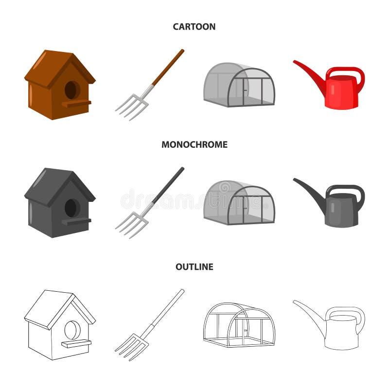 La volaille logent, pitchfork, serre chaude, boîte d'arrosage Icônes réglées de collection de ferme dans la bande dessinée, conto illustration de vecteur