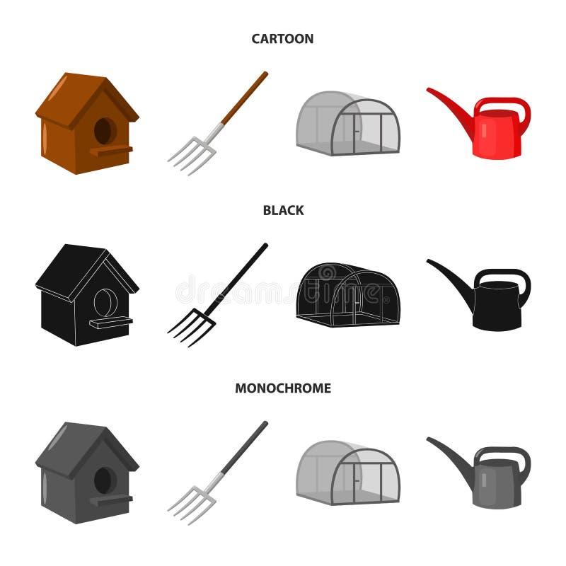 La volaille logent, pitchfork, serre chaude, boîte d'arrosage Icônes réglées de collection de ferme dans la bande dessinée, noir, illustration de vecteur