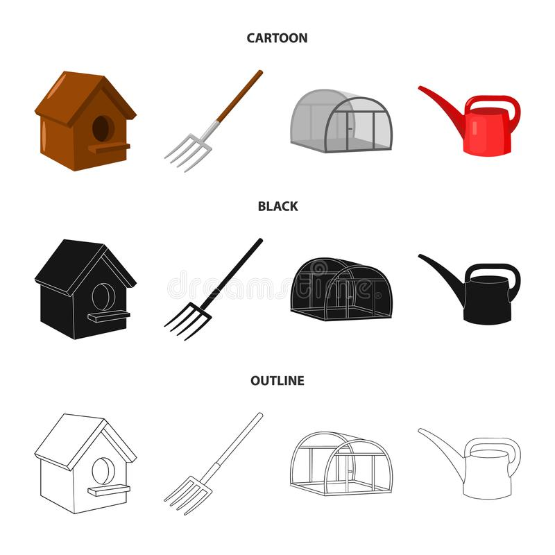 La volaille logent, pitchfork, serre chaude, boîte d'arrosage Icônes réglées de collection de ferme dans la bande dessinée, noir, illustration libre de droits