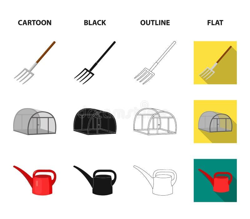 La volaille logent, pitchfork, serre chaude, boîte d'arrosage Icônes réglées de collection de ferme dans la bande dessinée, noir, illustration stock