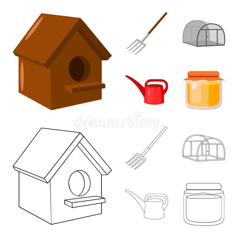 La volaille logent, pitchfork, serre chaude, boîte d'arrosage Icônes réglées de collection de ferme dans la bande dessinée, symbo illustration stock