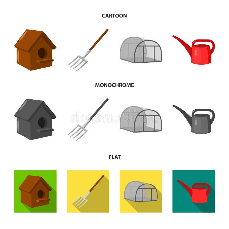 La volaille logent, pitchfork, serre chaude, boîte d'arrosage Icônes réglées de collection de ferme dans la bande dessinée, vecte illustration libre de droits