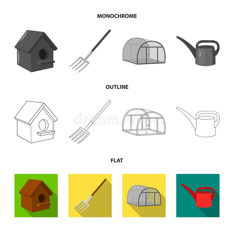 La volaille logent, pitchfork, serre chaude, boîte d'arrosage Icônes réglées de collection de ferme dans l'appartement, contour,  illustration de vecteur