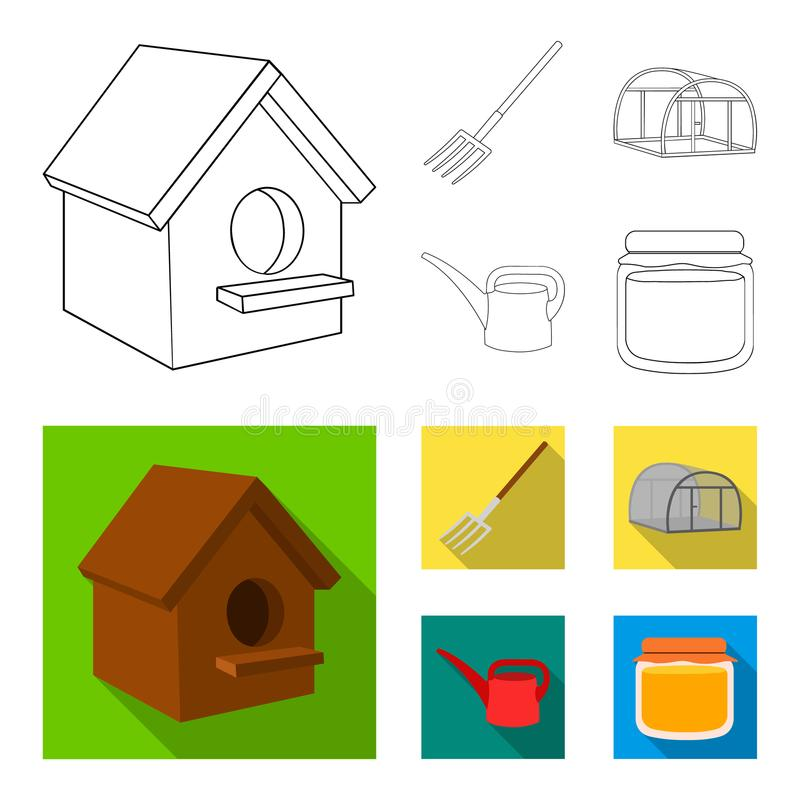 La volaille logent, pitchfork, serre chaude, boîte d'arrosage Icônes réglées de collection de ferme dans le contour, actions plat illustration de vecteur