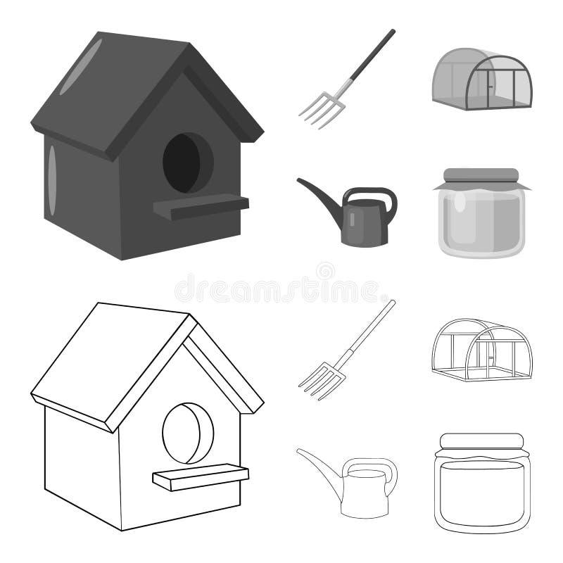 La volaille logent, pitchfork, serre chaude, boîte d'arrosage Icônes réglées de collection de ferme dans le contour, symbole mono illustration de vecteur