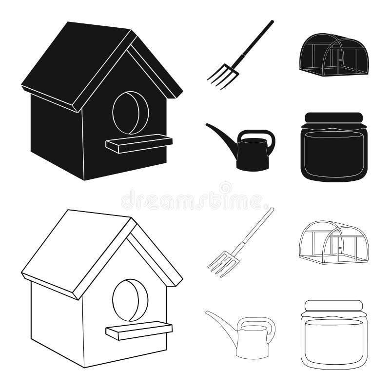 La volaille logent, pitchfork, serre chaude, boîte d'arrosage Icônes réglées de collection de ferme dans le noir, actions de symb illustration libre de droits