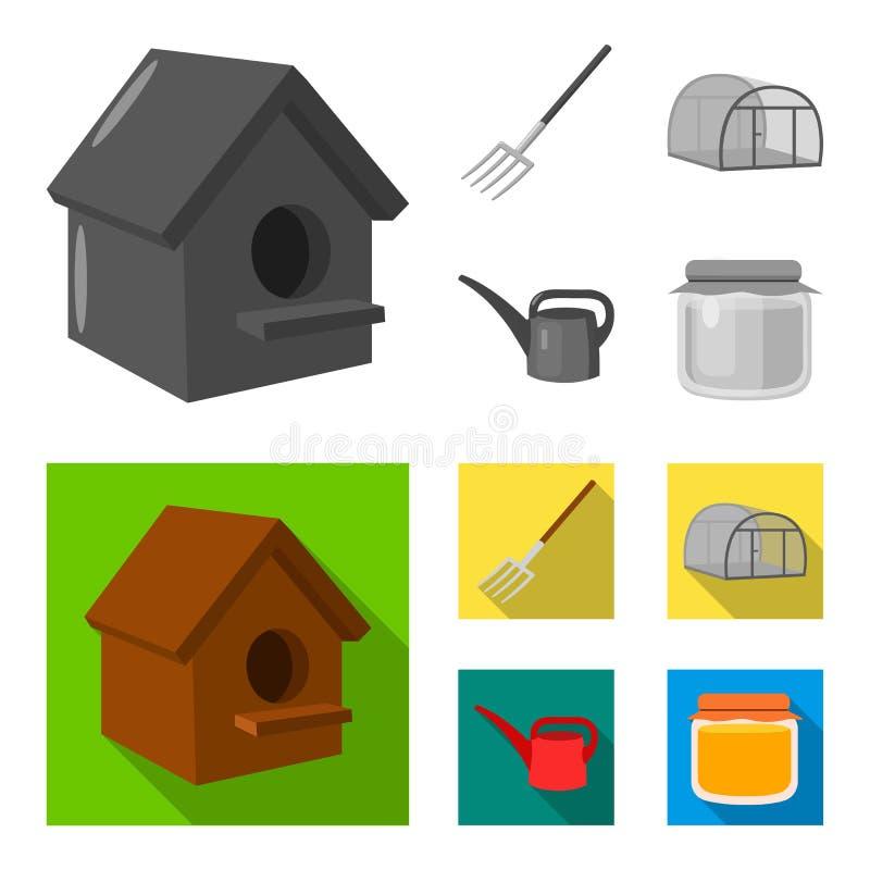 La volaille logent, pitchfork, serre chaude, boîte d'arrosage Icônes réglées de collection de ferme dans le symbole monochrome et illustration de vecteur