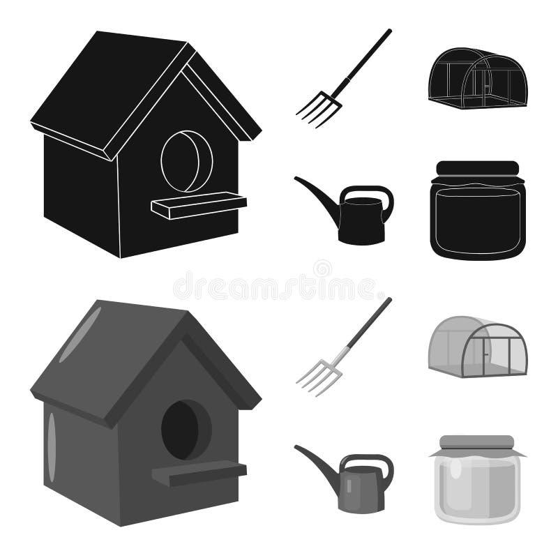 La volaille logent, pitchfork, serre chaude, boîte d'arrosage Icônes réglées de collection de ferme dans le symbole noir et monoc illustration stock