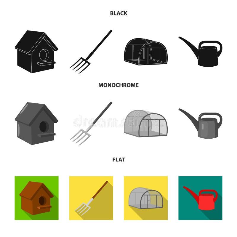 La volaille logent, pitchfork, serre chaude, boîte d'arrosage Icônes réglées de collection de ferme dans le vecteur noir, plat, m illustration de vecteur