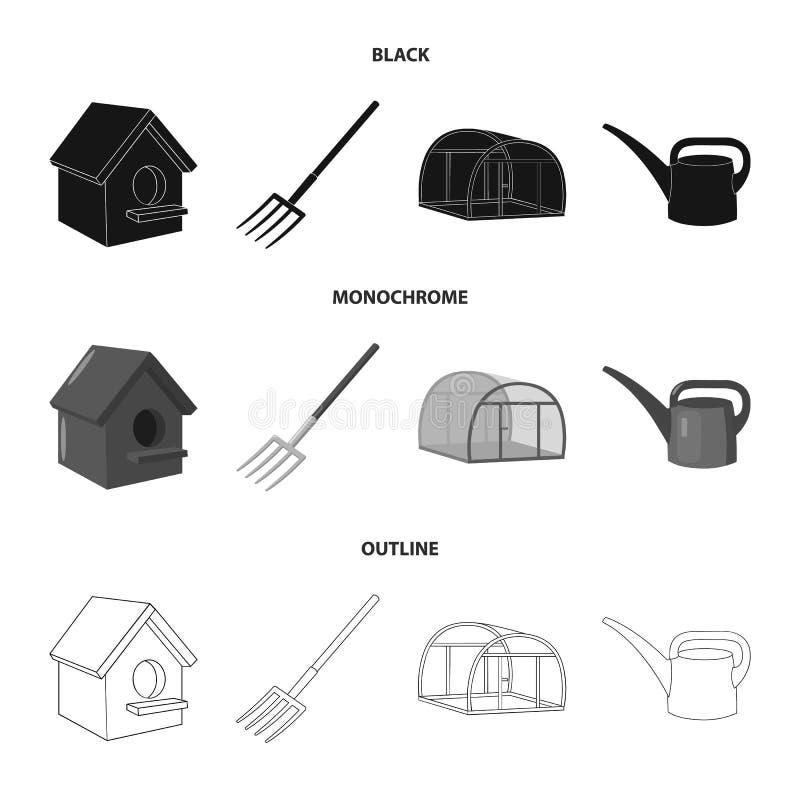La volaille logent, pitchfork, serre chaude, boîte d'arrosage Icônes réglées de collection de ferme dans noir, monochrome, vecteu illustration libre de droits
