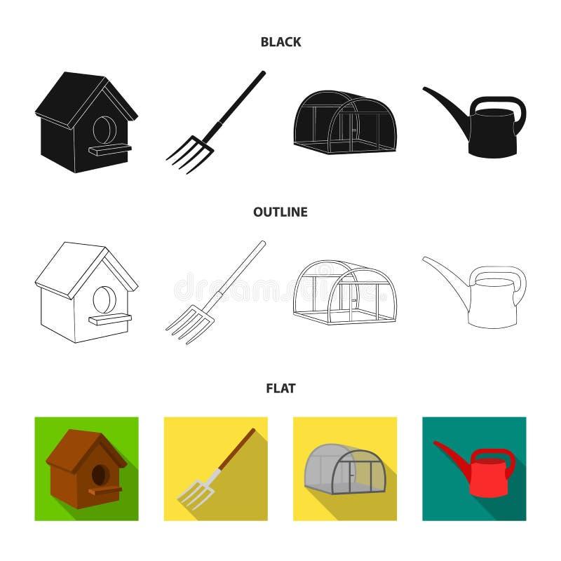La volaille logent, pitchfork, serre chaude, boîte d'arrosage Icônes réglées de collection de ferme dans noir, plat, symbole de v illustration stock