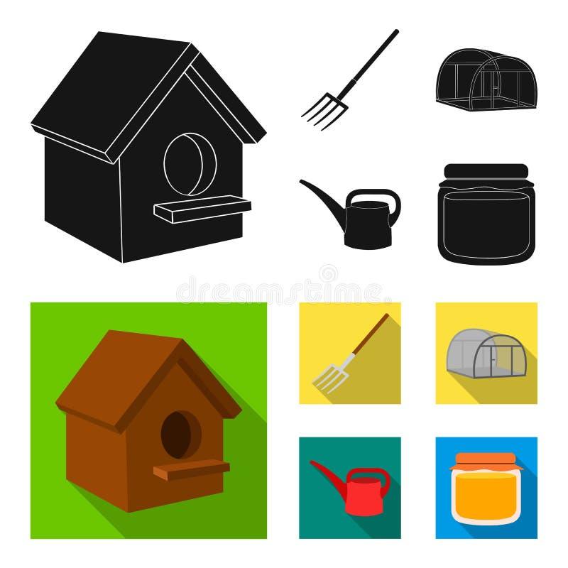 La volaille logent, pitchfork, serre chaude, boîte d'arrosage Icônes réglées de collection de ferme en stock noir et plat de symb illustration libre de droits