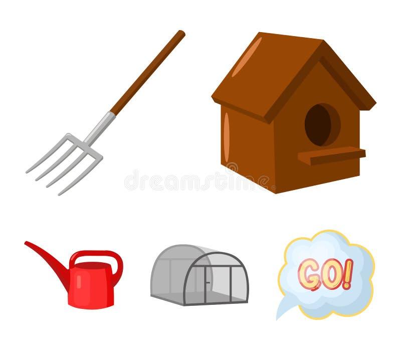 La volaille logent, pitchfork, serre chaude, boîte d'arrosage Les icônes réglées de collection de ferme dans le style de bande de illustration de vecteur