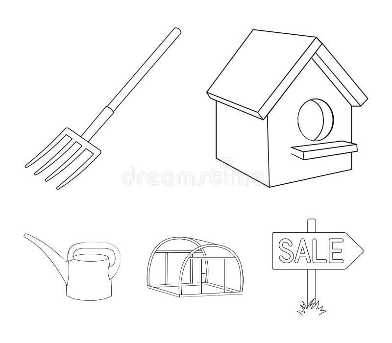 La volaille logent, pitchfork, serre chaude, boîte d'arrosage Les icônes réglées de collection de ferme dans le style d'ensemble  illustration libre de droits