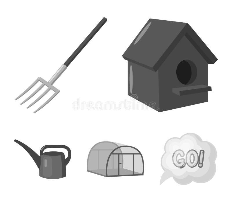 La volaille logent, pitchfork, serre chaude, boîte d'arrosage Les icônes réglées de collection de ferme dans le style monochrome  illustration stock