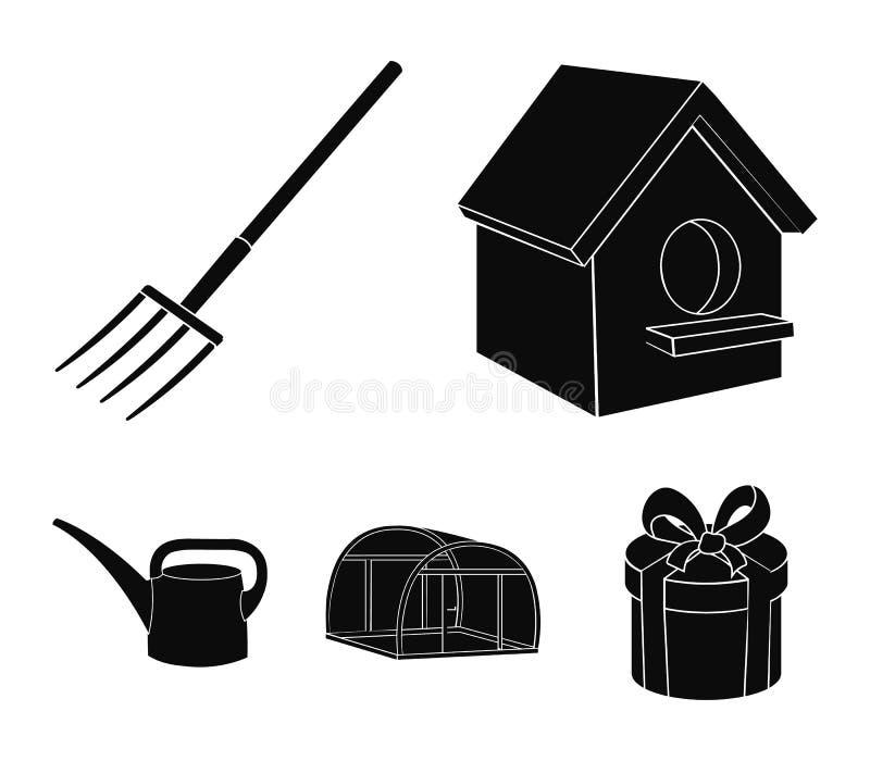 La volaille logent, pitchfork, serre chaude, boîte d'arrosage Les icônes réglées de collection de ferme dans le style noir dirige illustration de vecteur