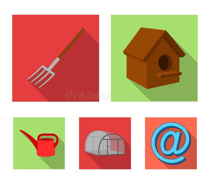 La volaille logent, pitchfork, serre chaude, boîte d'arrosage Les icônes réglées de collection de ferme dans le style plat dirige illustration stock
