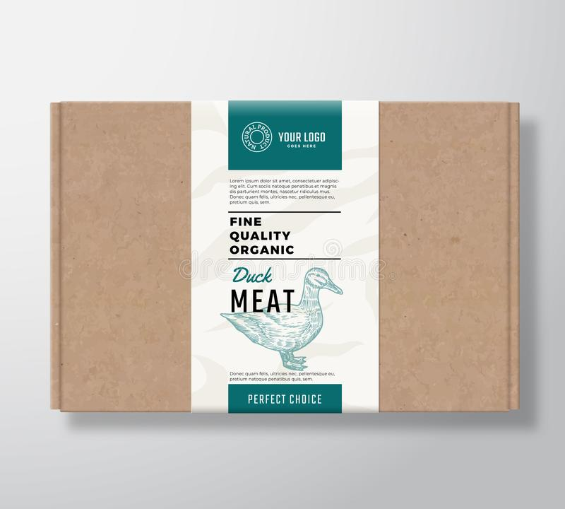 La volaille organique de qualité fine ouvrent la boîte en carton Récipient de papier de viande abstraite de vecteur avec la couve illustration stock