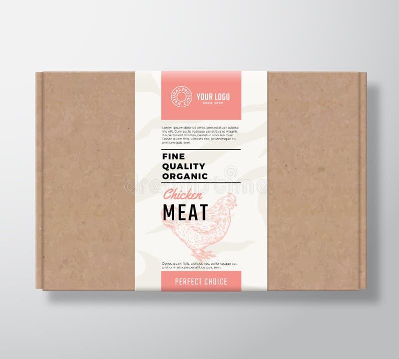 La volaille organique de qualité fine ouvrent la boîte en carton Récipient de papier de viande abstraite de vecteur avec la couve illustration libre de droits