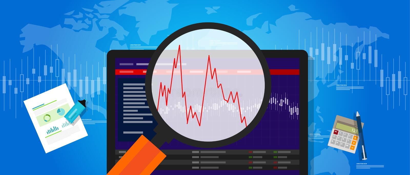 La volatilidad volátil de la acción del mercado abajo estrella la fluctuación del índice de la inversión del precio de la tendenc ilustración del vector