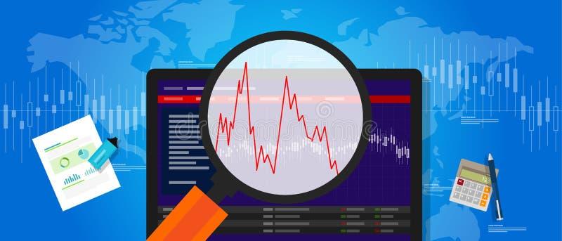 La volatilité volatile d'actions du marché se brisent vers le bas la fluctuation d'index d'investissement des prix de tendance illustration de vecteur