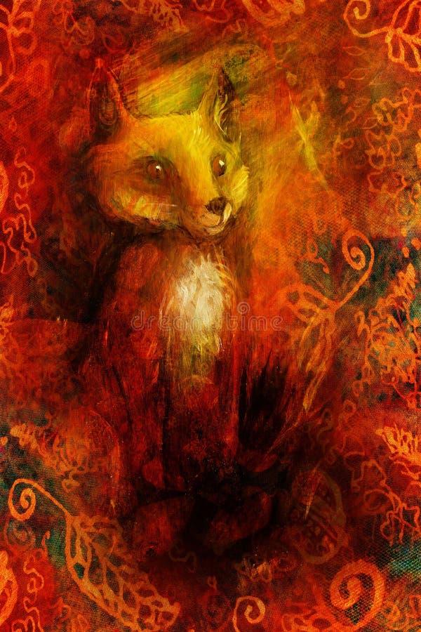La volpe arancio che si siede nell'erba in sole rays, pittura variopinta con l'ornamento della foglia illustrazione di stock