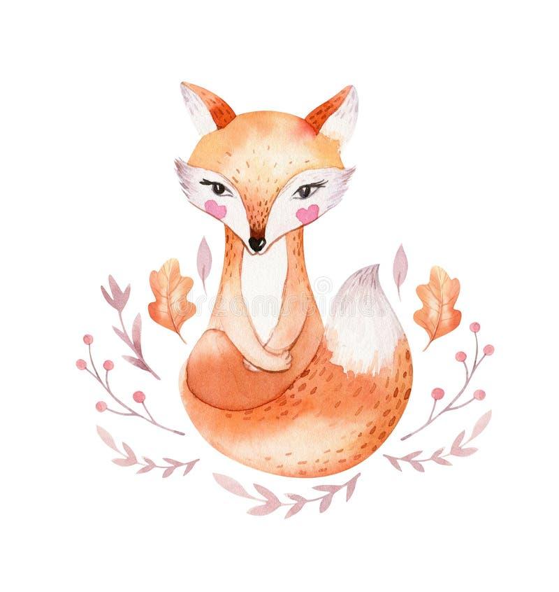 La volpe sveglia del bambino, l'uccello della scuola materna dei cervi e l'orso animali hanno isolato l'illustrazione per i bambi illustrazione di stock