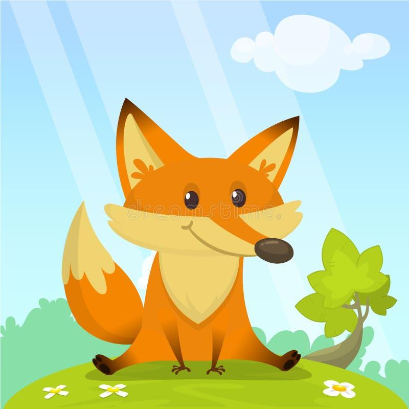 La volpe sveglia si siede sulla radura verde Vector l'illustrazione con un animale nello stile del fumetto royalty illustrazione gratis