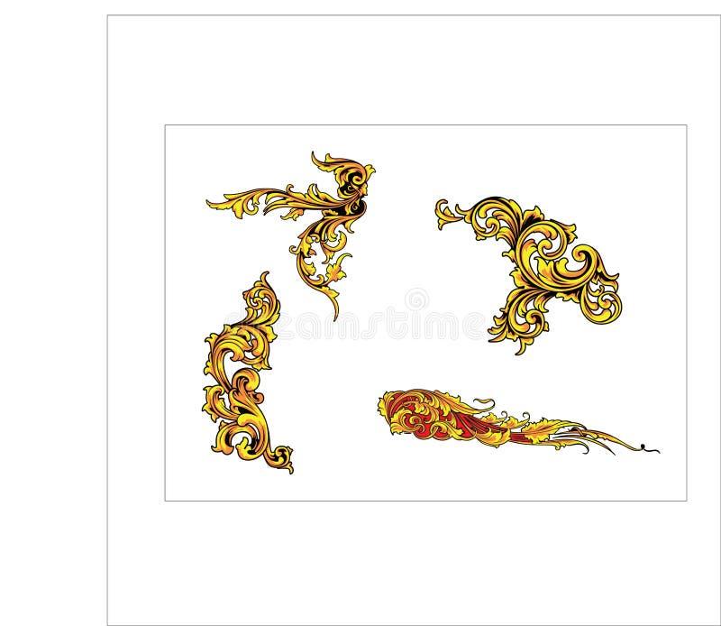 La voluta de la hoja del ornamento floral grabó diseño decorativo del estampado de plores retro ilustración del vector