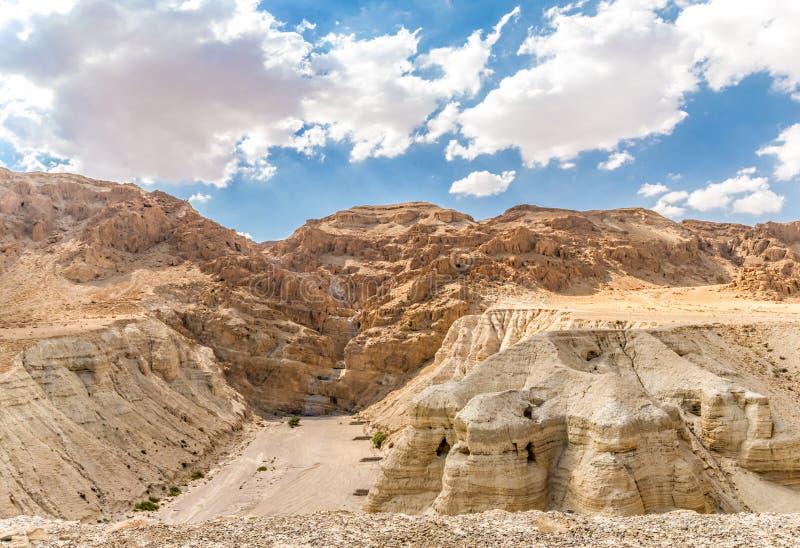 La voluta de Qumran excava cerca del mar muerto, Israel foto de archivo libre de regalías