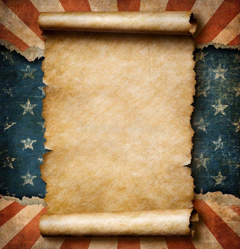 La voluta del papel en blanco del Grunge sobre los E.E.U.U. señala el ejemplo de la plantilla por medio de una bandera 3d del Día libre illustration