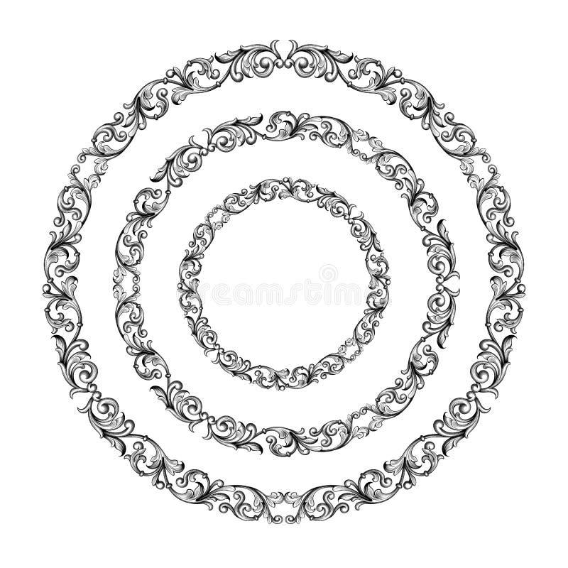 La voluta redonda victoriana barroca del ornamento floral del monograma de la frontera del marco del círculo del vintage grabó el stock de ilustración