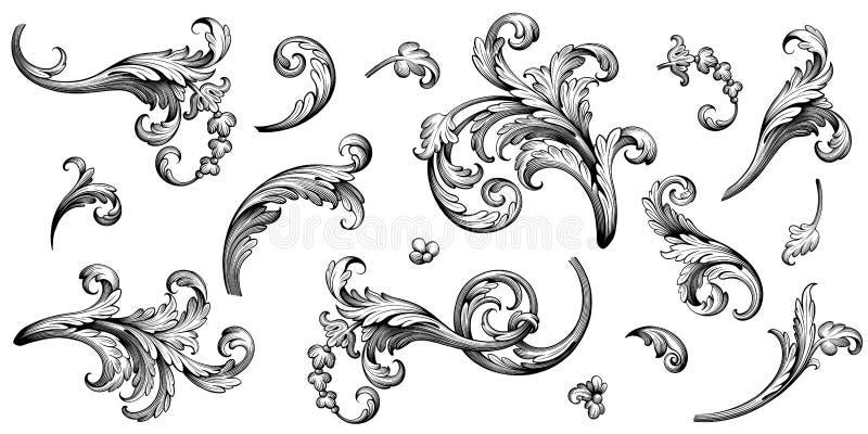 La voluta victoriana barroca del ornamento floral de la frontera del marco del vintage grab? el vector caligr?fico del tatuaje ret libre illustration