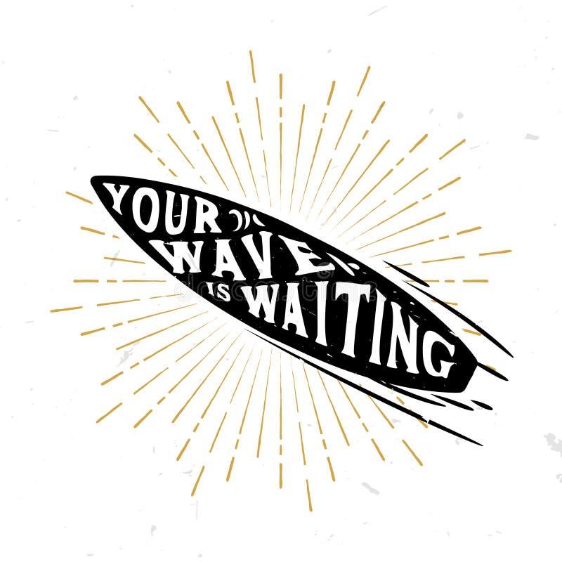 La vostra onda sta aspettando - citazione ispiratrice dentro il bordo di spuma royalty illustrazione gratis