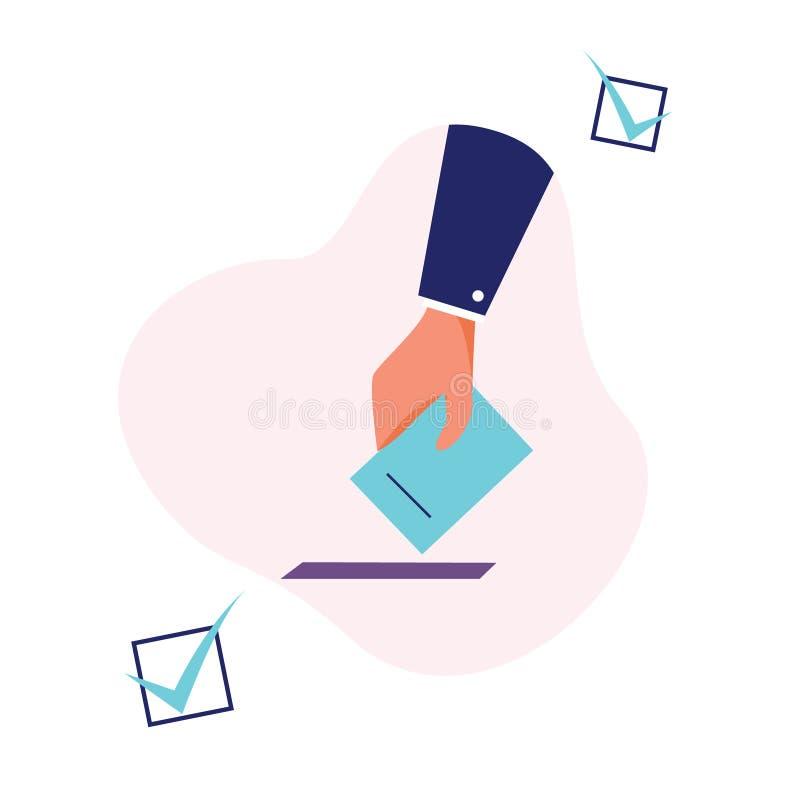 La votación y la elección encajonan concepto plano con el icono de la mano libre illustration
