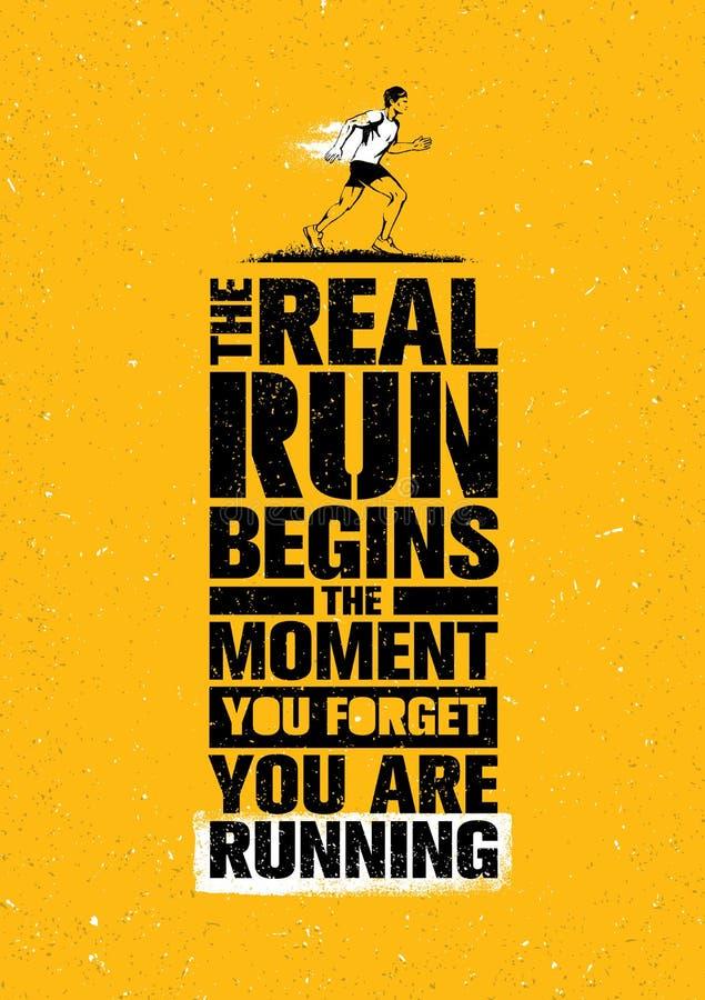 La vraie course commence le moment où vous oubliez que vous courez Citation de motivation de marathon de sport Concept de sport illustration libre de droits