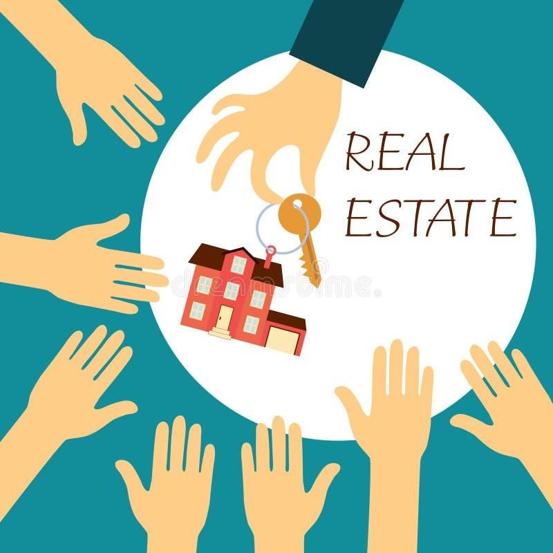 La vraie participation d'agent immobilier de main tient une clé illustration libre de droits