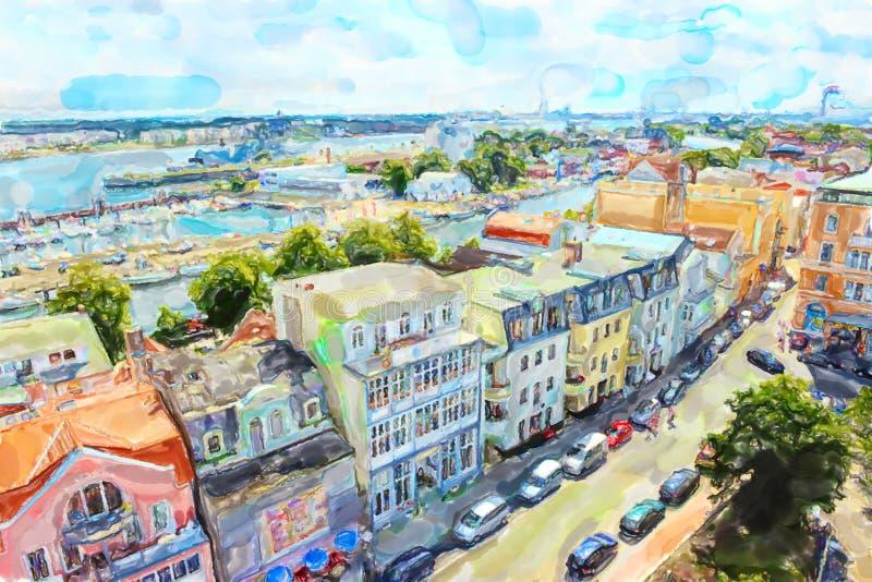 La vue aérienne au-dessus de la ville Warnemunde de mer baltique avec ses maisons échouent et mettent en communication illustration de vecteur