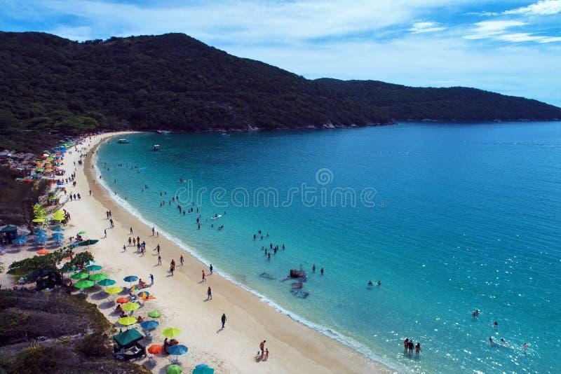 La vue aérienne d'Arraial font la plage de Cabo, Rio de Janeiro, Brésil images libres de droits